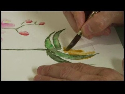 Watercolor Painting: An Orchid : Watercolor Painting an Orchid: Flower Pot