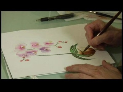 Watercolor Painting: An Orchid : Watercolor Painting an Orchid: Flower Pot Details