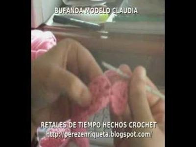 BUFANDA CALADA A CROCHET MODELO CLAUDIA