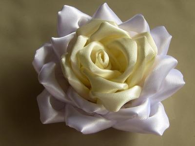 COMO FAZER Rosas  de fitas de cetim Passo a Passo -- fabric flowers