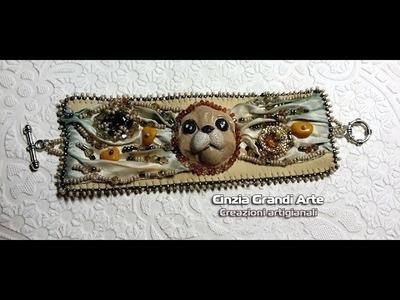 DIY - Bracciale embroidery  con seta shibori  - bracelet shibori silk