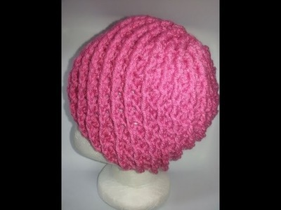 Gorro con punto en relieve a crochet No  2