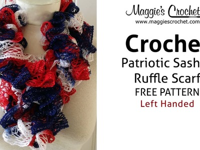 Patriotic Sashay Ruffle Scarf Free Crochet Pattern - Left Handed