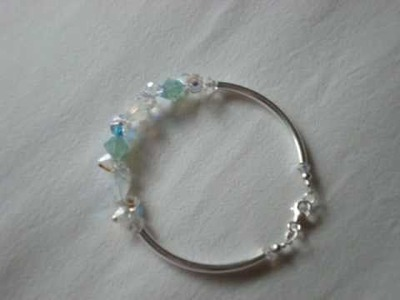 Swarovski crystal opal bracelet sterling silver