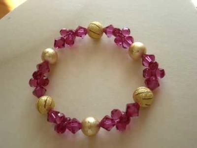 Fuchsia modular beads Swarovski crystal bracelet