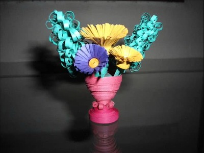 Handmade paper Quilling Flower Vase HD