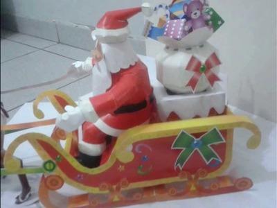 Papai Noel Feito em Papercraft.  Santa Claus Papercraft