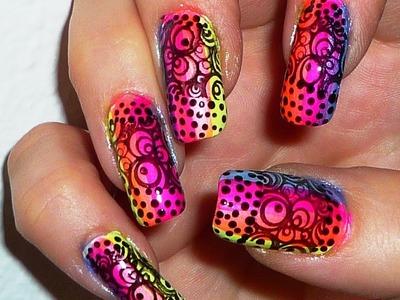 Rainbow Circles  Stamping Nail Design