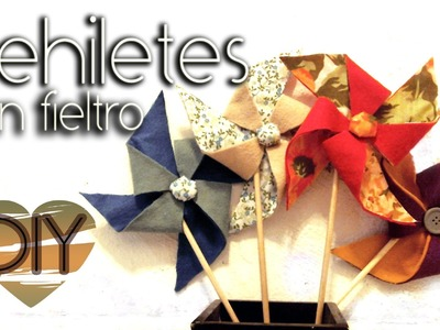DIY: Rehiletes con fieltro. pinwheel made with felt♥