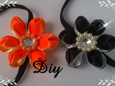 Flor de fita de cetim com duas cores \ DIY - Satin ribbon flower with two colors