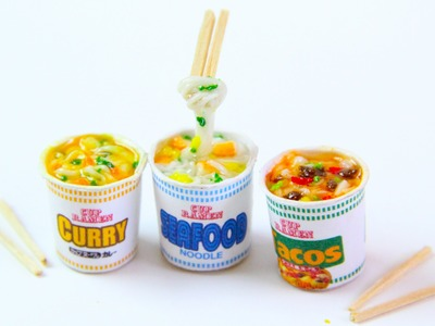 Miniature Cup Ramen - Polymer Clay Japanese Cup Noodle Tutorial