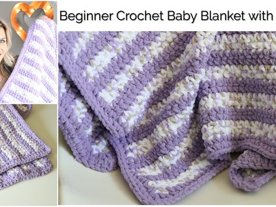Beginner Crochet Baby Stripes Blanket with Border:Baby Series