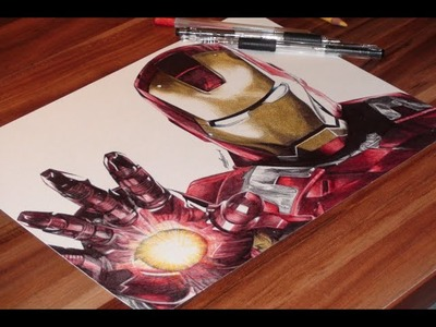 Iron Man Ballpoint Pen Drawing - Marvel - DeMoose Art