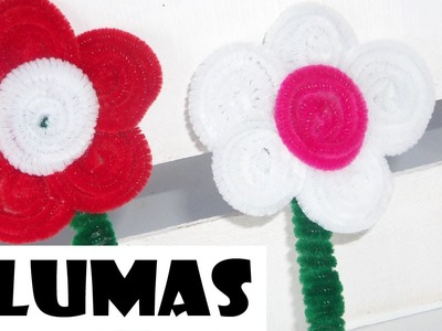 Plumas Decoradas con Limpia pipas o Chenille.Flor Back to school