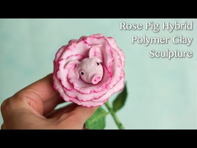 Rose Pig. Polymer Clay Sculpture Speed Sculpting