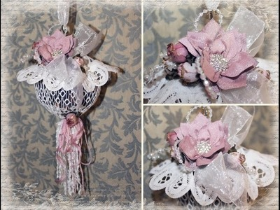 Shabby Chic Hanging Potpourri. Pomander Ball with Tresors de Luxe