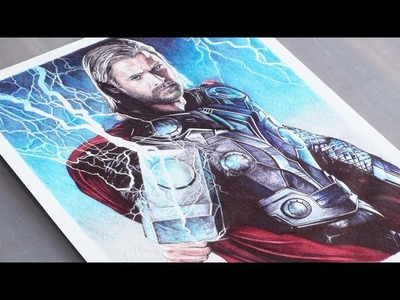 Thor Ballpoint Pen Drawing - Marvel - DeMoose Art