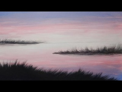 Acrylic Painting Twilight Shores Silhouette Painting #coloroftheyearart