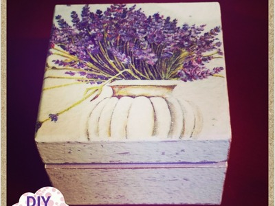 Decoupage jewelry box lavander napkin ideas DIY craft decorations tutorial. URADI SAM Dekupaž