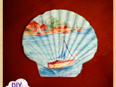 Decoupage seashell ideas DIY decorations craft tutorial. URADI SAM Dekupaž