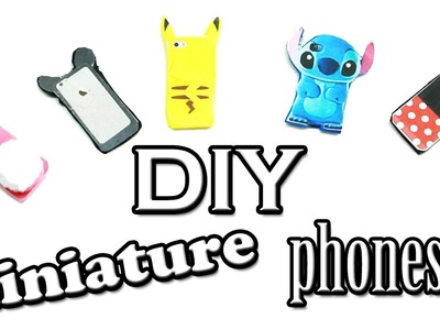 DIY miniature cell phone with cute cases (pikachu, stitch, mickey mouse, minnie mouse)