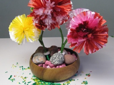 Pom pom flower making tutorial using raffia ribbon