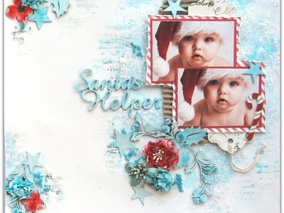 Santa's Helper by Di Garling - Using glitter with texture paste to create  sparkle. background