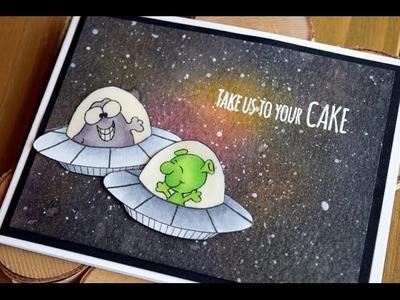 Space or Galaxy Background with Gerda Steiner Designs Birthday Card