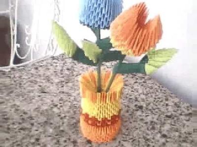 Origami 3D florero con flores