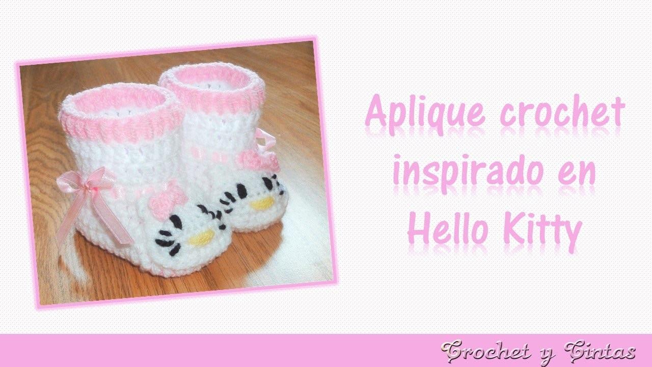 Aplique crochet (ganchillo) inspirado en Hello Kitty