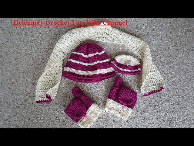 Crochet Easy Beginner Winter Striped Beanie Hat, flip mittens, and scarf Set DIY Tutorial