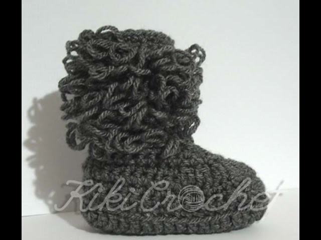 Crochet Loop Stitch Booties (English  tutorial)