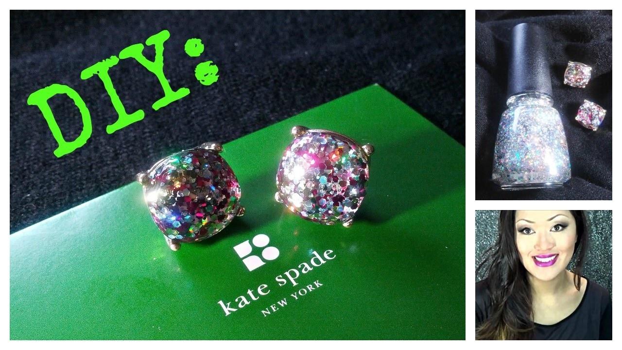 DIY: Kate Spade Inspired Glitter Earrings using Nail Polish!