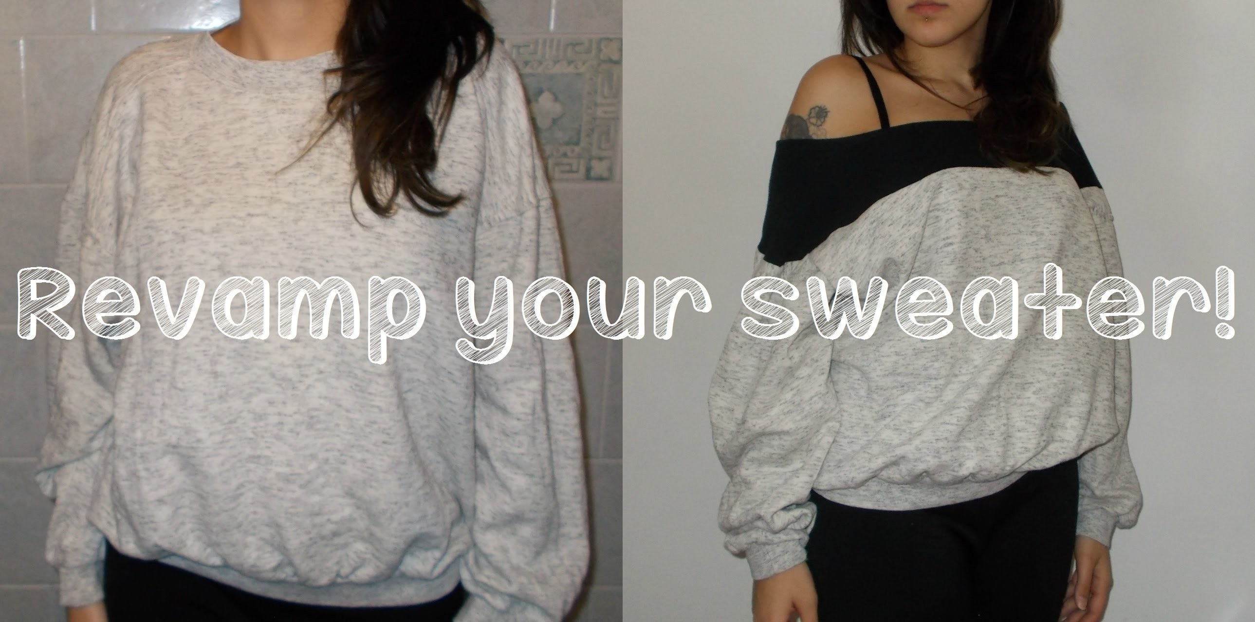 DIY TUTORIAL revamped customized insert baggy sweater - Felpa rinnovata!