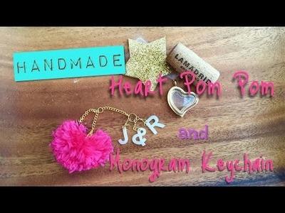 Easy Valentines Day Craft: DIY Heart Pom Pom and Monogram Key Chain