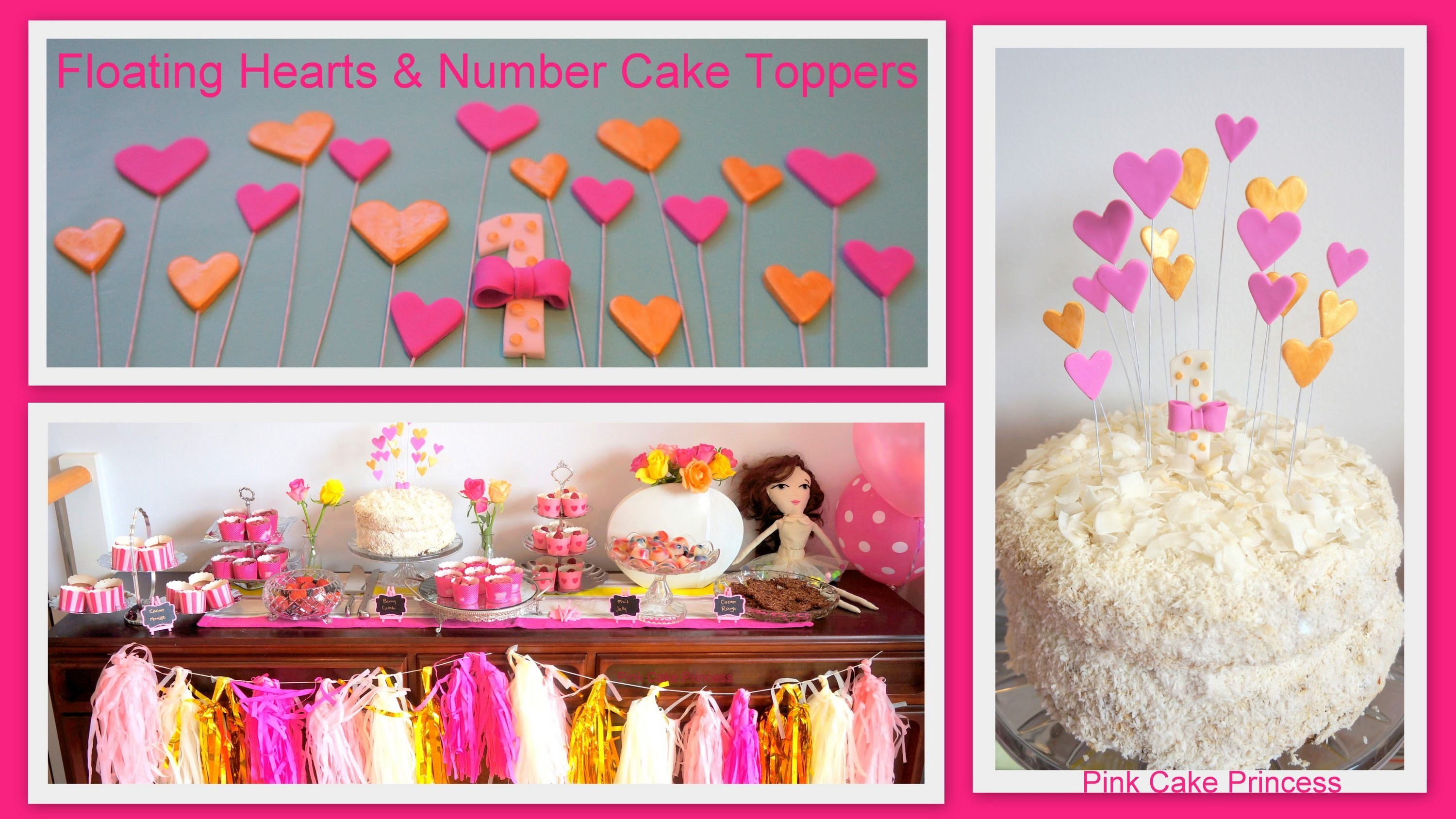 How to Make Floating Hearts & Number 1 Cake Toppers Decorations