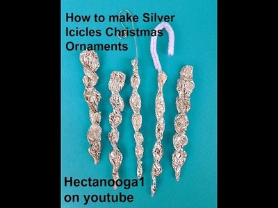 How to make SILVER ICICLE ornaments for the tree, crafts for kids