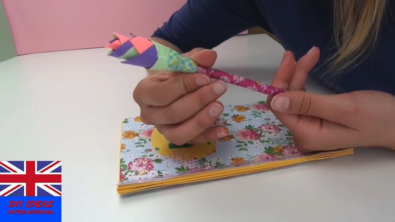 Paper Flower Pencil Tutorial: How to make a beautiful flower for your pencil?