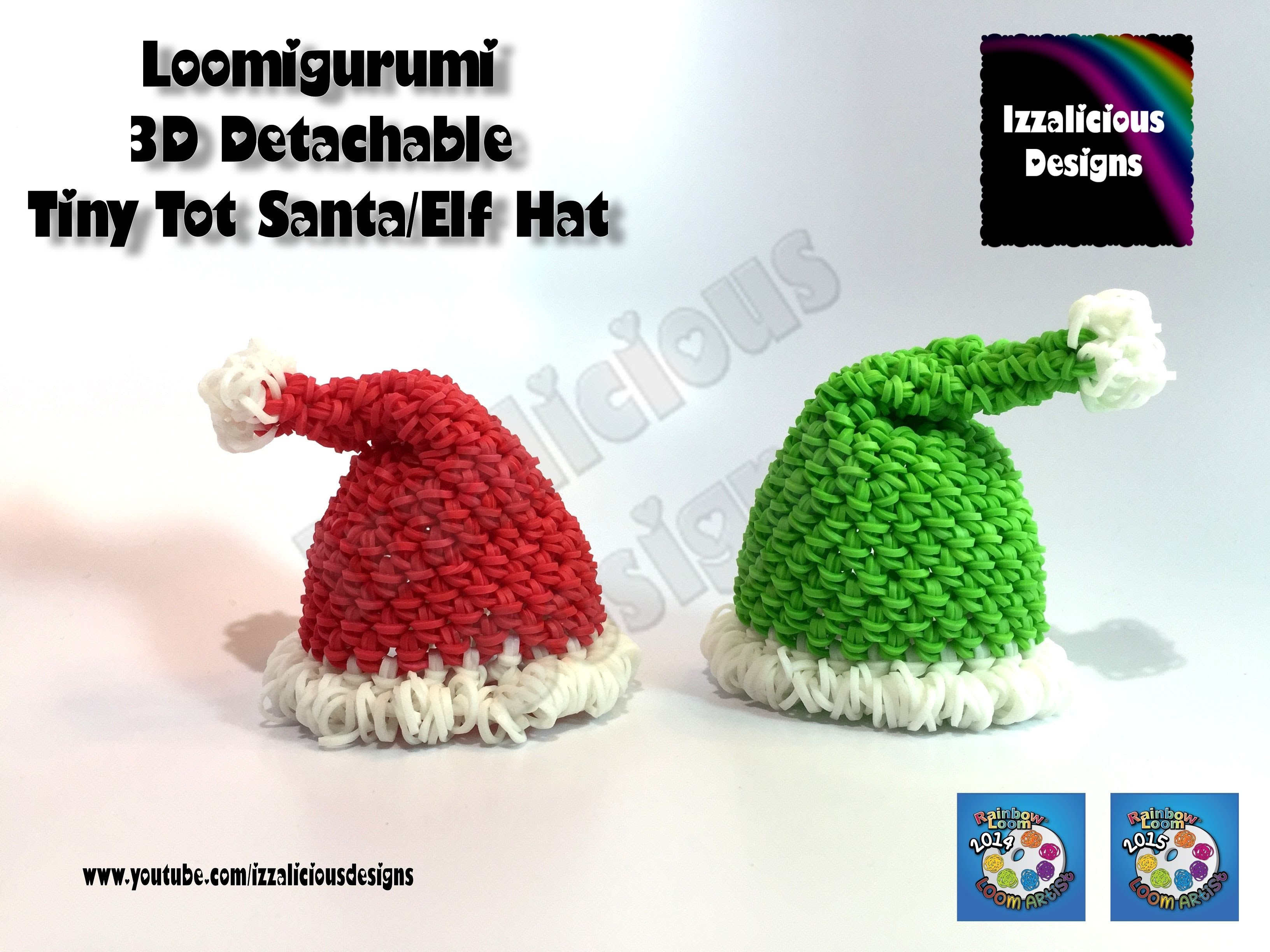 Rainbow Loom Loomigurumi Santa Claus | Elf Hat (Pt1) Tiny Tot Christmas Figure w. Rainbow Loom Bands