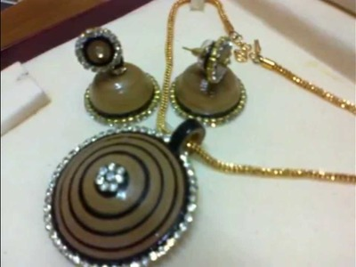 Paper Quilling Jhumka With Matching Pendant