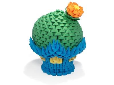3D Origami Round Cactus