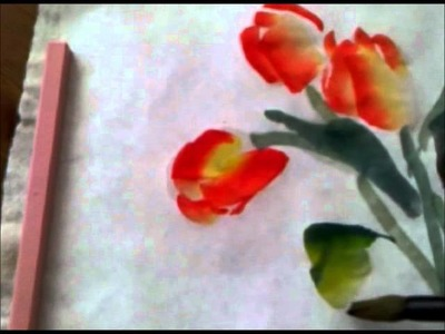 Painting Tulips in Chinese Watercolor Style on Rice Paper
