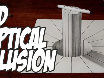 3D Cylinder with Lines - Optical Illusion