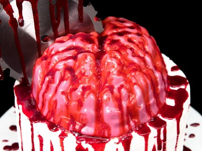 Bloody Jello Brain Cake (Zombie Cake) for Halloween