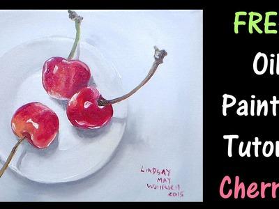 Cherries on a Plate Beginner Oil Painting Tutorial