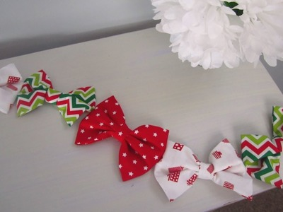 {DIY Christmas}❄Step by Step Sewing - Fabric Bow Garland