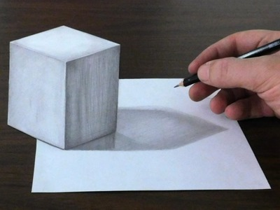 Drawing a 3D Anamorphic Cube - Easy Trick Art Optical Illusion