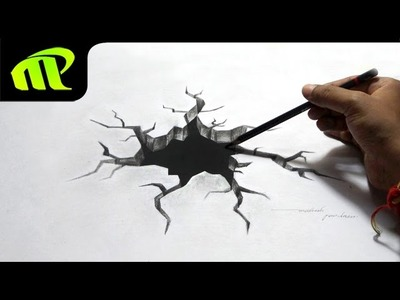 Drawing a 3D Broken Hole - Anamorphic Illusion, Trick Art