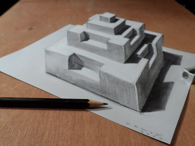 Drawing a 3D Pyramid, Trick Art Optical Illusion