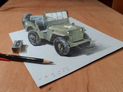 Drawing a 3D Willys MB Jeep, Trick Art by Vamos